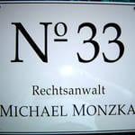 Kanzleischild für RA Monzka