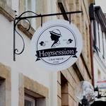 Rundes Bistroschild Hopsession mit Ausleger