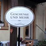 """Freistehendes Logoschild """"Geschenke & mehr"""""""