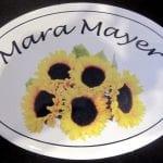 Namensschild mit Sonnenblumen